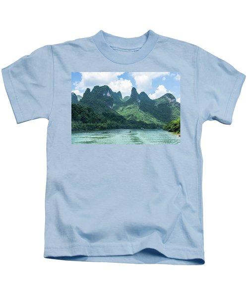 Lijiang River And Karst Mountains Scenery Kids T-Shirt