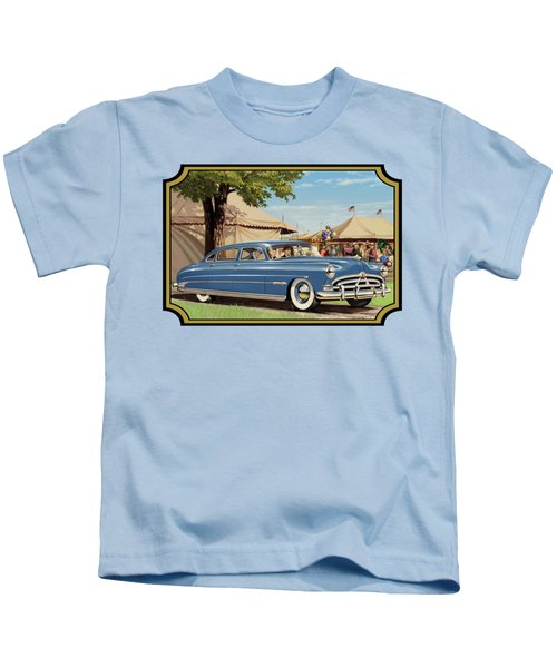 1951 Hudson Hornet Fair Americana Antique Car Auto Nostalgic Rural Country Scene Landscape Painting Kids T-Shirt