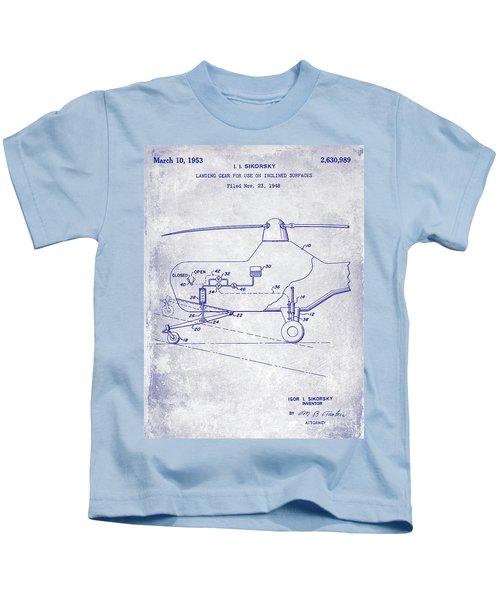 1953 Helicopter Patent Blueprint Kids T-Shirt by Jon Neidert