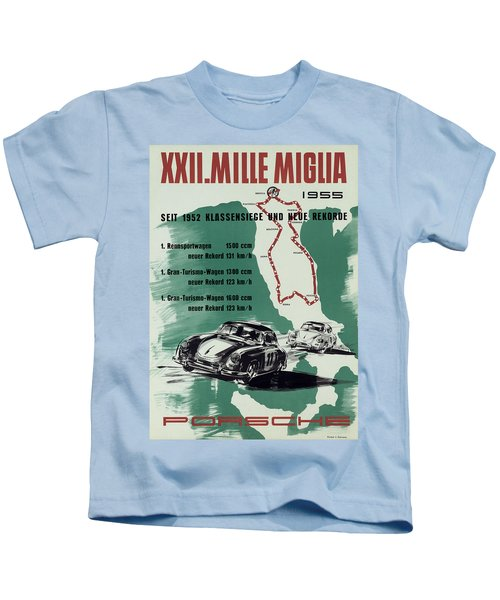 1955 Mille Miglia Porsche Poster Kids T-Shirt