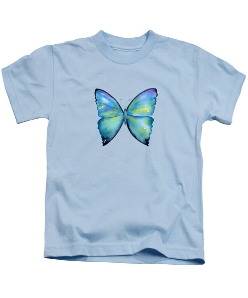 2 Morpho Aega Butterfly Kids T-Shirt by Amy Kirkpatrick
