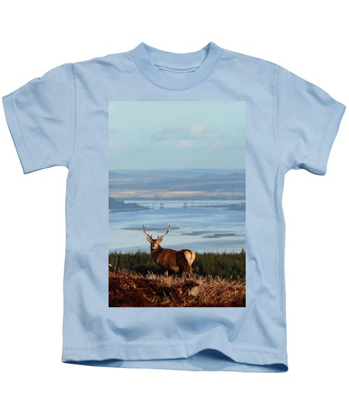 Stag Overlooking The Beauly Firth And Inverness Kids T-Shirt