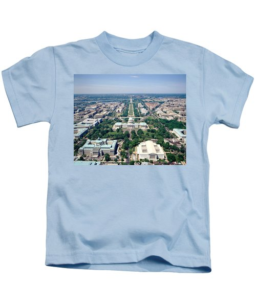 Aerial View Of Buildings In A City Kids T-Shirt by Panoramic Images