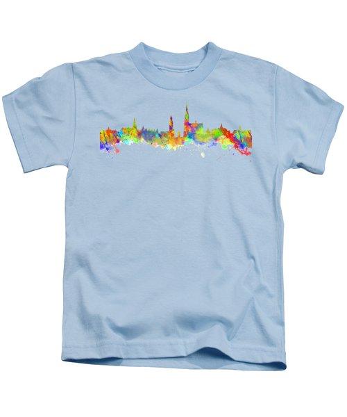 Watercolor Art Print Of The Skyline Of Antwerp In Belgium Kids T-Shirt