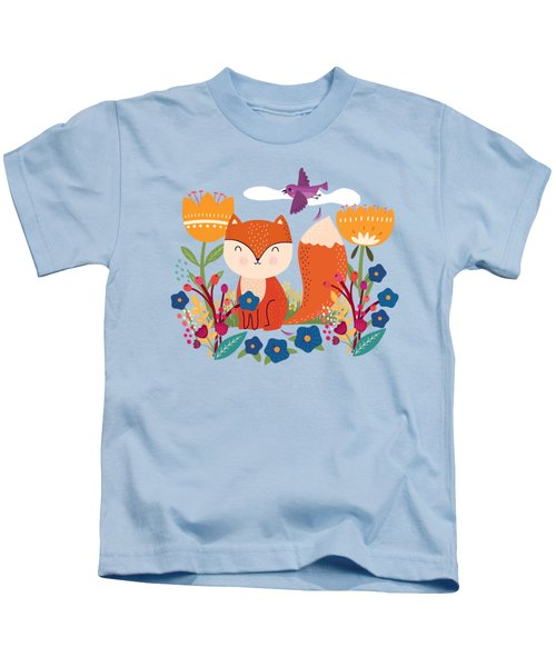 A Fox In The Flowers With A Flying Feathered Friend Kids T-Shirt