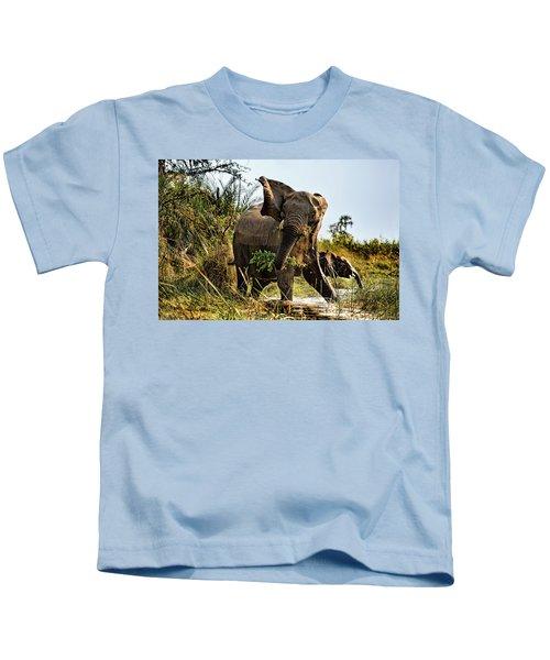 A Protective Mama Elephant With Calf  Kids T-Shirt