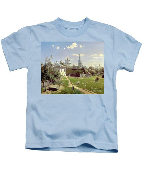 A Small Yard In Moscow Kids T-Shirt by Vasilij Dmitrievich Polenov
