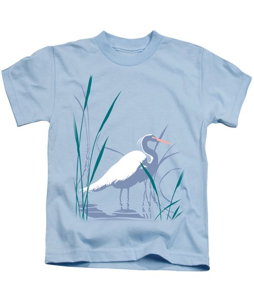 abstract Egret graphic pop art nouveau 1980s stylized retro tropical florida bird print blue gray  Kids T-Shirt by Walt Curlee