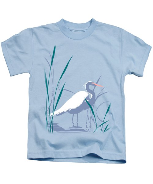 abstract Egret graphic pop art nouveau 1980s stylized retro tropical florida bird print blue gray  Kids T-Shirt