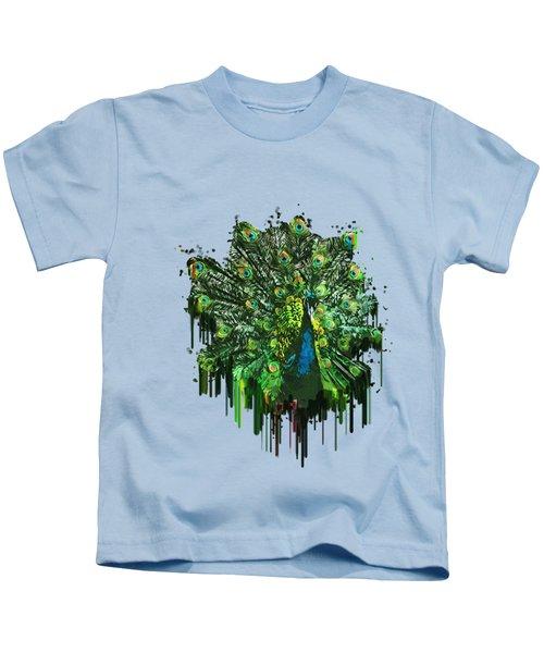 Abstract Peacock Acrylic Digital Painting Kids T-Shirt by Georgeta Blanaru