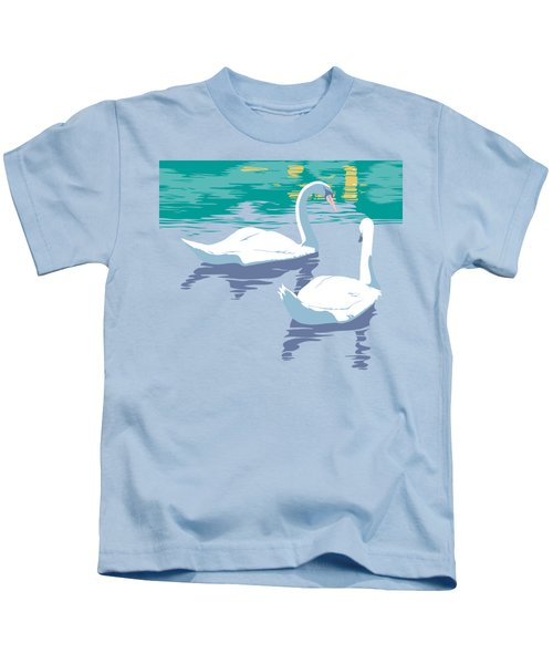 Abstract Swans Bird Lake Pop Art Nouveau Retro 80s 1980s Landscape Stylized Large Painting  Kids T-Shirt