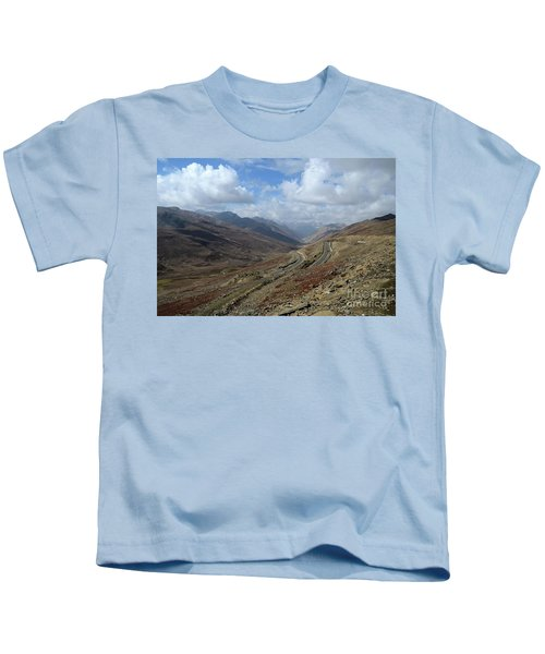 Aerial Shot Of Mountainous Karakoram Highway Babusar Pass Pakistan Kids T-Shirt