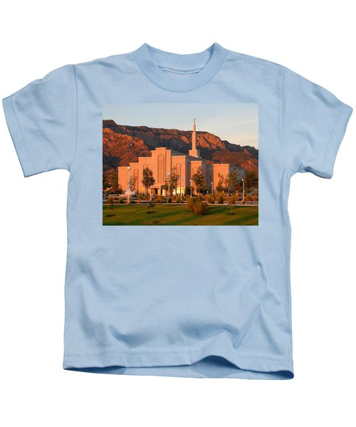 Albuquerque Lds Temple At Sunset 1 Kids T-Shirt