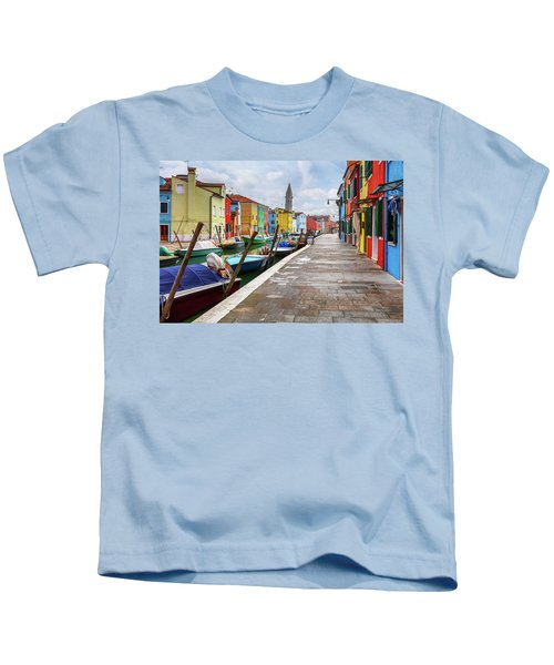 Along The Canal In Burano Island Kids T-Shirt