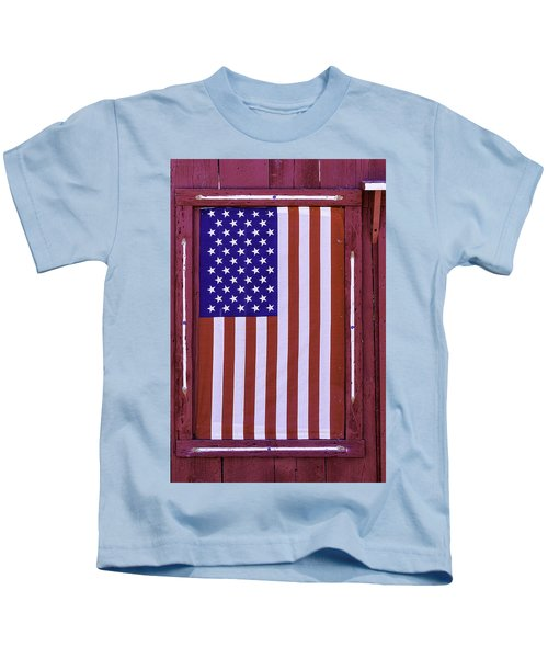 American Flag In Red Window Kids T-Shirt