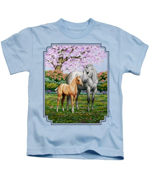 Spring's Gift - Mare And Foal Kids T-Shirt