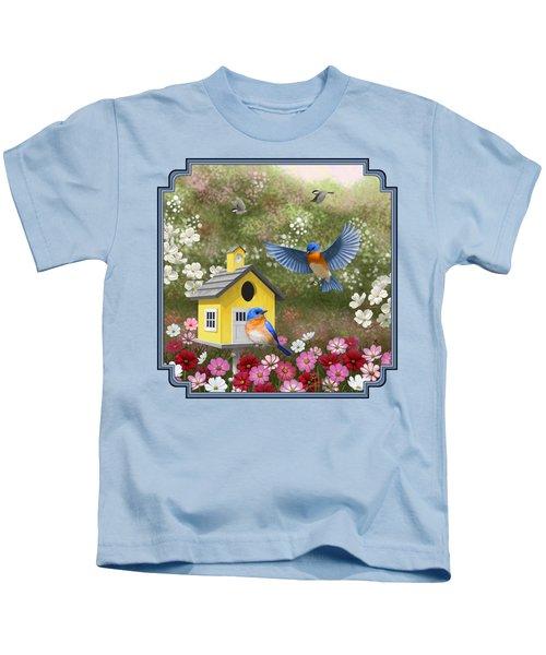 Bluebirds And Yellow Birdhouse Kids T-Shirt