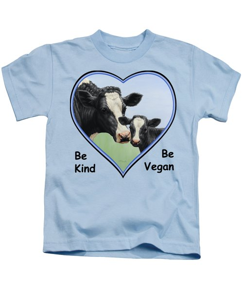Holstein Cow And Calf Blue Heart Vegan Kids T-Shirt