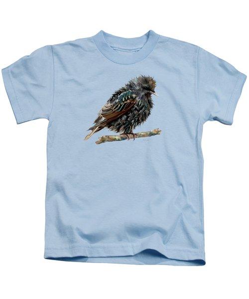 Wet Starling Kids T-Shirt by Bamalam Photography