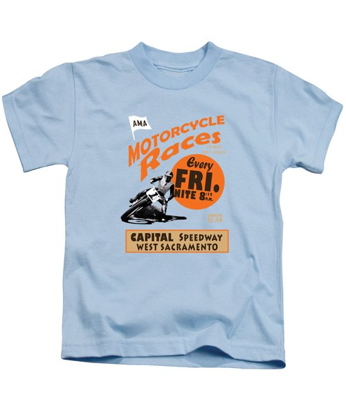 Motorcycle Speedway Races Kids T-Shirt by Mark Rogan