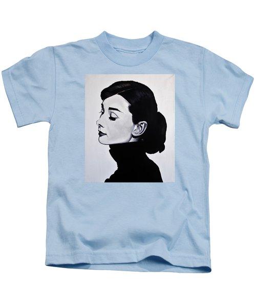 Audrey Hepburn 1 Kids T-Shirt by Brian Broadway