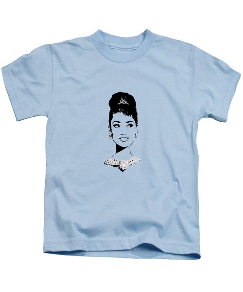 Audrey In Tiffany Blue Kids T-Shirt by Rene Flores