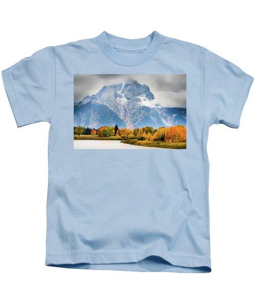 Autumn Storm Over Mount Moran Kids T-Shirt