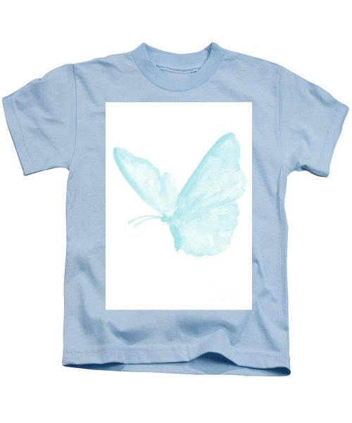 Butterfly, Baby Blue Butterfly Watercolor Painting, Pastel Kids Room Decor, Nursery Boy Print Kids T-Shirt