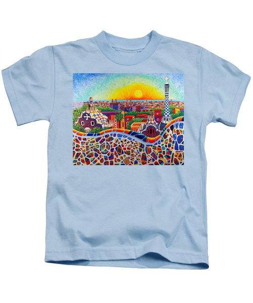 Barcelona Sunrise Colors From Park Guell Modern Impressionism Knife Oil Painting Ana Maria Edulescu Kids T-Shirt