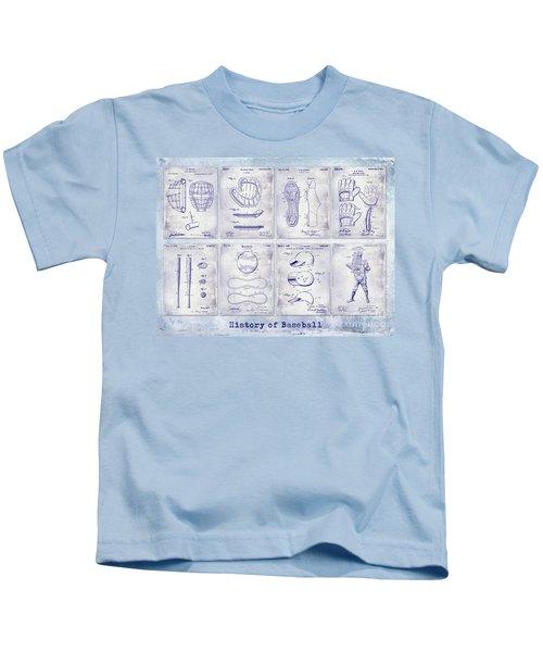 Baseball Patent History Blueprint Kids T-Shirt