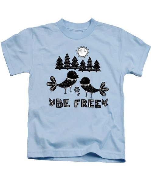 Be Free Birds In Cute Scandinavian Style Kids T-Shirt