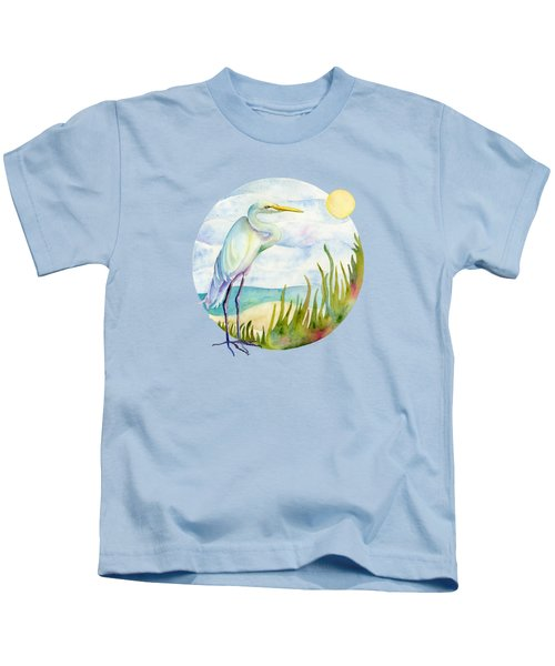 Beach Heron Kids T-Shirt by Amy Kirkpatrick