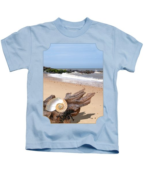 Beachcombing - Driftwood And Shells Kids T-Shirt