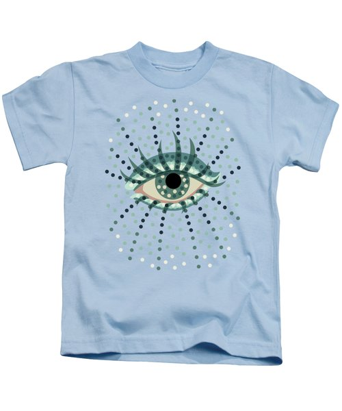 Beautiful Abstract Dotted Blue Eye Kids T-Shirt by Boriana Giormova