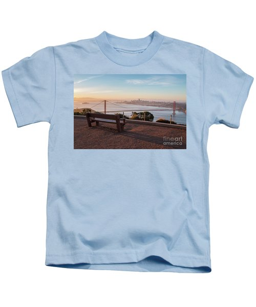 Bench Overlooking Downtown San Francisco And The Golden Gate Bri Kids T-Shirt