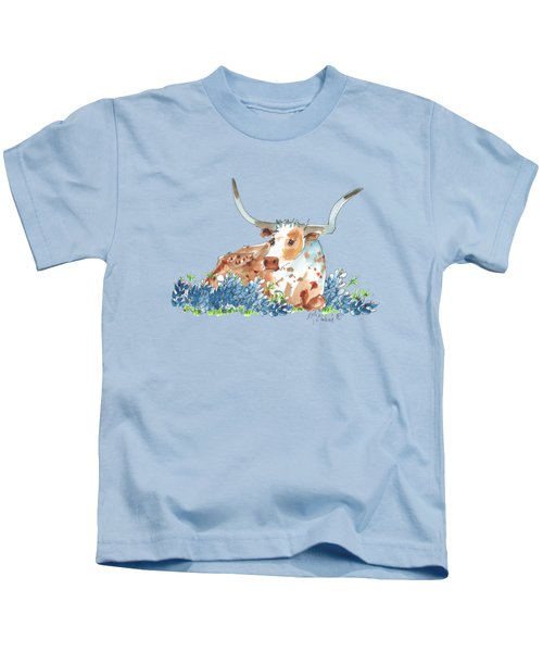 Bessie In The Bluebonnets Watercolor Painting By Kmcelwaine Kids T-Shirt