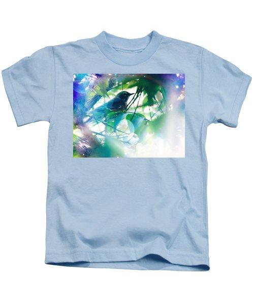 Bird And Blue Kids T-Shirt