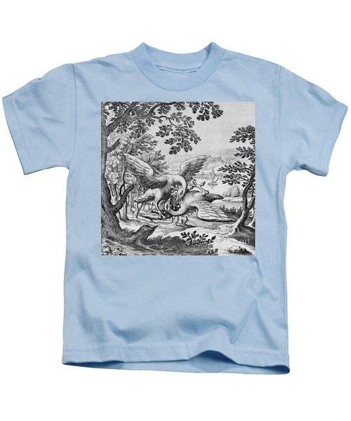 Birds Fighting From Musaeum Hermeticum, 1678 Kids T-Shirt