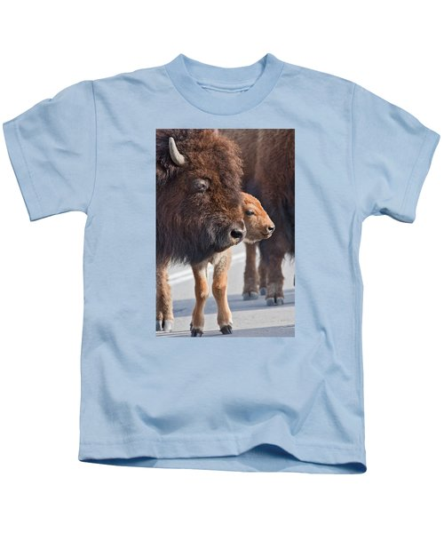 Bison And Calf Kids T-Shirt