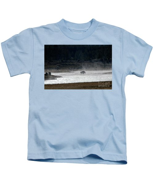 Bison In The River Kids T-Shirt
