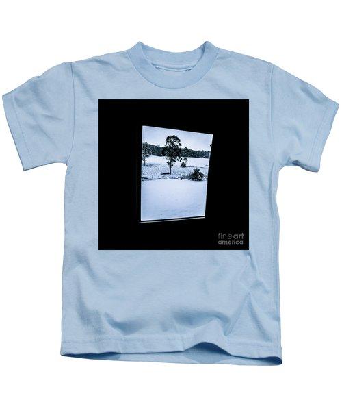 Black And Blue Snow Landscape Kids T-Shirt