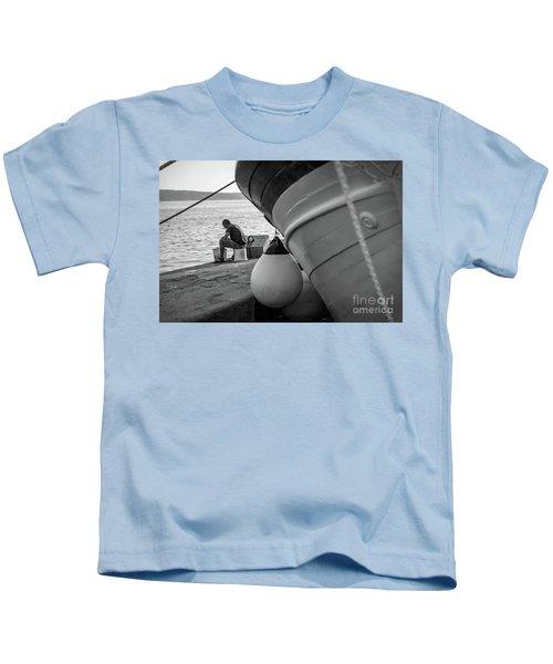 Black And White - Fisherman Cleaning Fish On Docks Of Kastel Gomilica, Split Croatia Kids T-Shirt