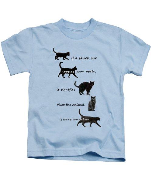 Black Cat Crossing Kids T-Shirt