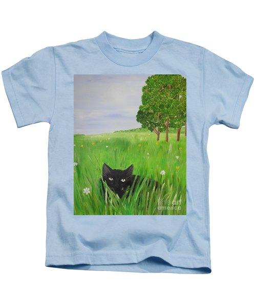 Black Cat In A Meadow Kids T-Shirt