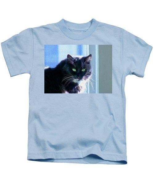 Black Cat In Sun Kids T-Shirt