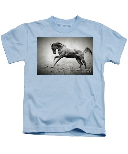 Black Horse In Dust Kids T-Shirt