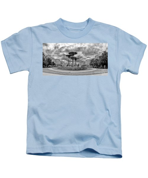 Black White Panorama Of Texas Christian University Campus Commons And Frog Fountain - Fort Worth  Kids T-Shirt