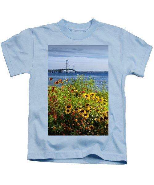Blooming Flowers By The Bridge At The Straits Of Mackinac Kids T-Shirt