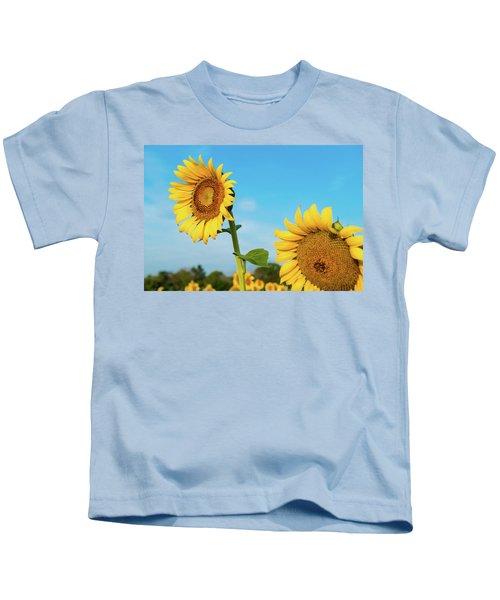 Blooming Sunflower In Blue Sky Kids T-Shirt