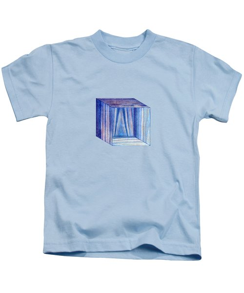Blue Box Sitting Kids T-Shirt by YoPedro